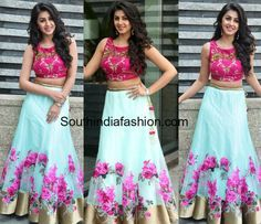 1eb6b3327c Nikki Galrani in a Floral Lehenga and Crop Top | Baby Lehangas ...