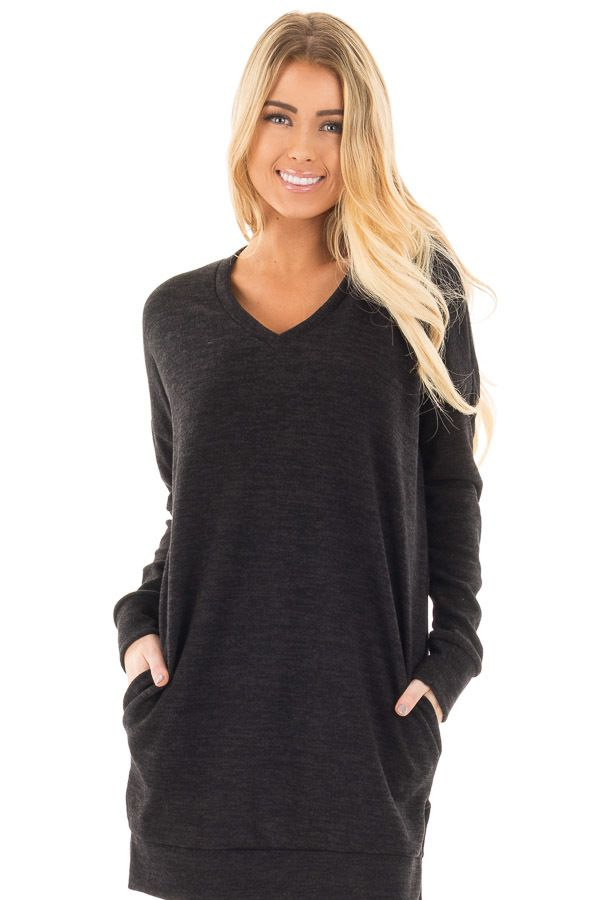 Lime Lush Boutique - Black Sweater Tunic Dress with Side Pockets ...