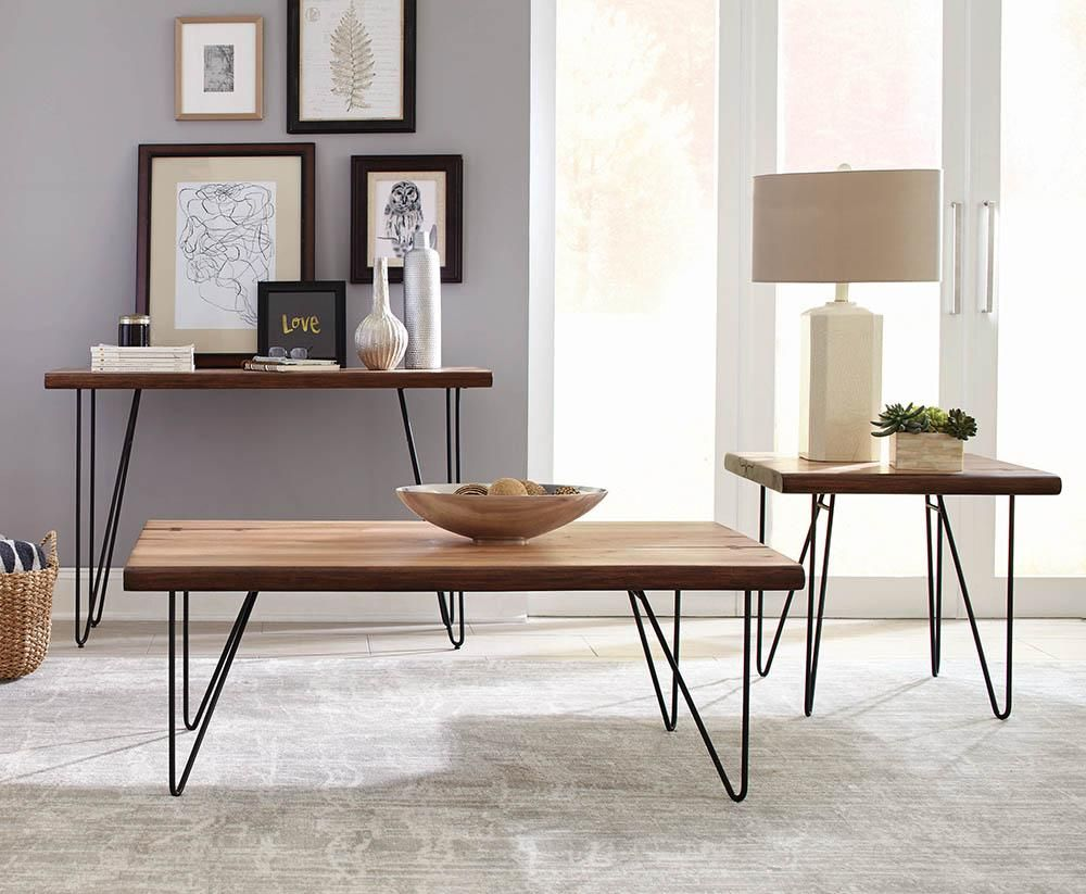 Solid Wooden Contemporary Coffee Table With V Shaped Metal Base