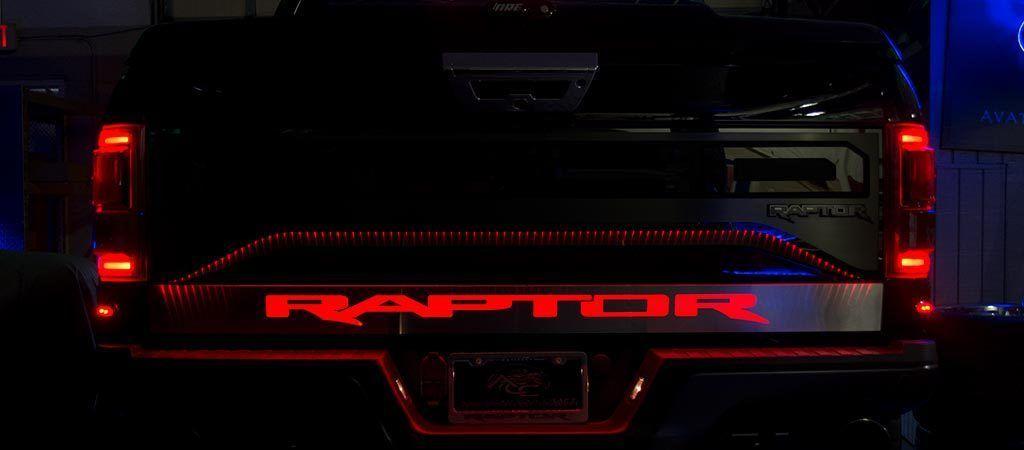 2017 2019 Ford Raptor Light Up Raptor Tailgate Rocker Panel