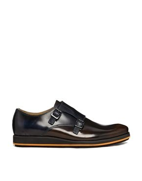 Navy and Burgundy Leather Hush Puppies Monk Shoes, Men's Fall Winter Fashion.