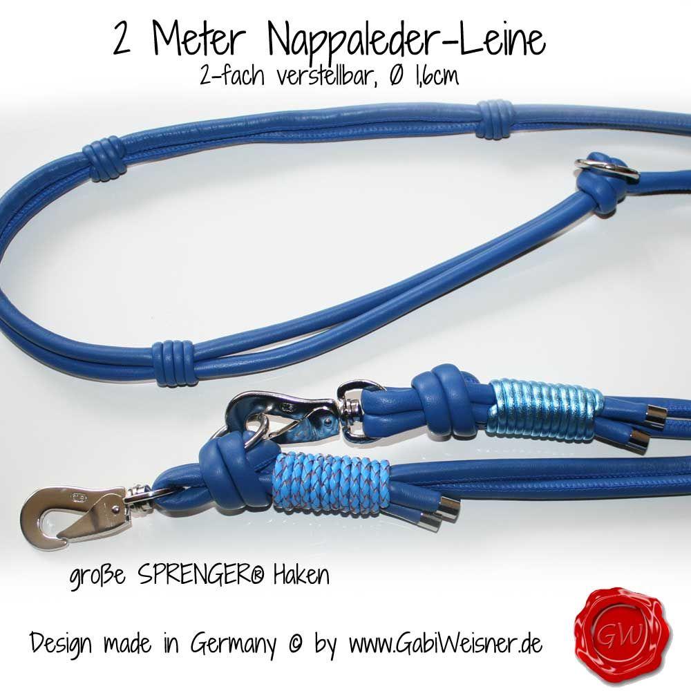2m Lederleine 2-fach verstellbar | Hundeleinen Leder Exklusiv ...