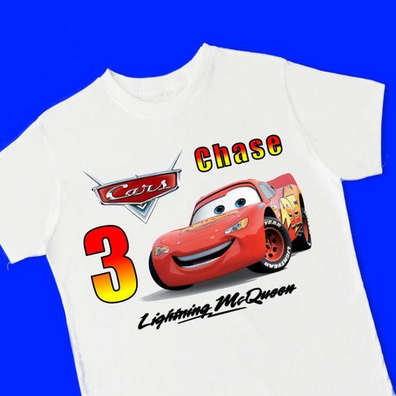738661e99 Cars Lightning McQueen Birthday Tee. Personalized Birthday T-Shirt.  Personalized with Name and Age.