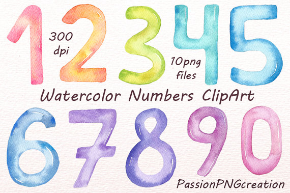 Watercolor Numbers Clipart Numbers Clip Art Digital Numbers Etsy Clip Art Watercolor Christmas Songs For Kids