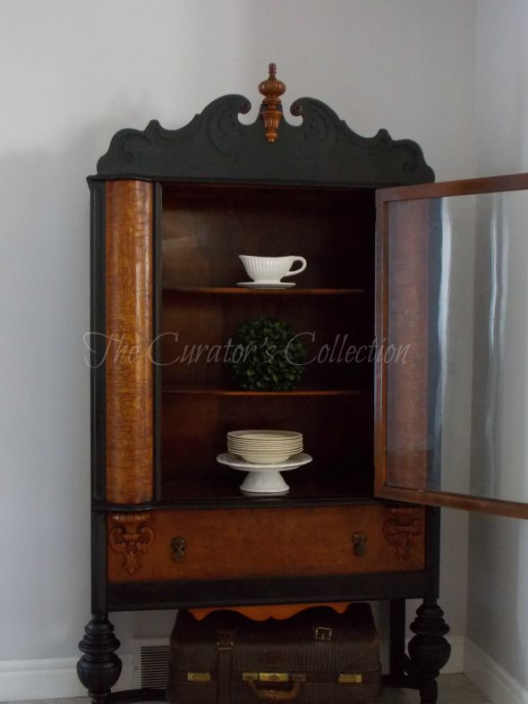 1920's China hutch makeover in typewriter milk paint 048