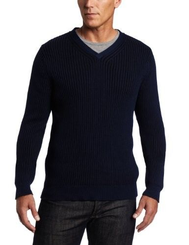 Alex Stevens Men's Ribbed V-neck Sweater, Admiral, Large | Men ...