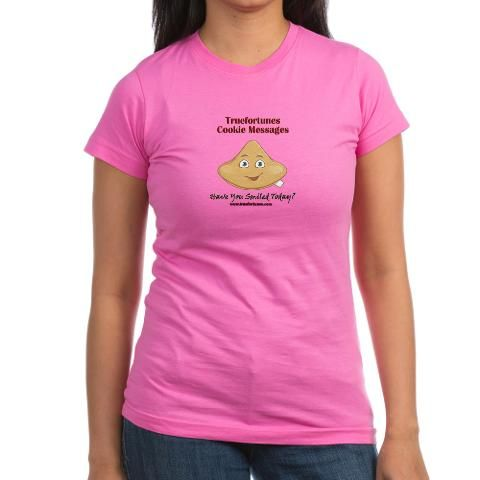 •Junior Jersey T-Shirt •100% ringspun cotton jersey •Form-fitting, longer length tee •Juniors cut; size up for a looser fit •Machine Wash Cold, Tumble Dry Low  http://www.cafepress.com/truefortunescookiemessages.1493699334