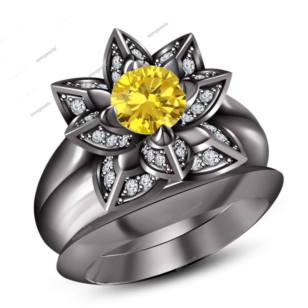 Yellow White Diamond Wedding Lotus Flower Bridal Ring Set 10k B