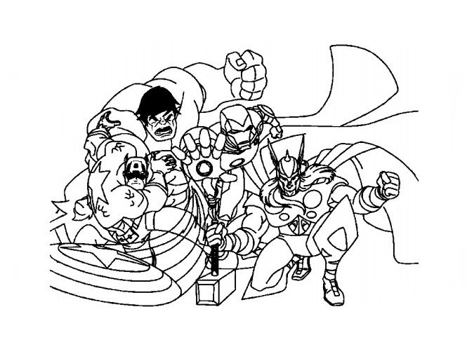 Four Members Of The Team Avengers Coloring Page: This coloring page ...