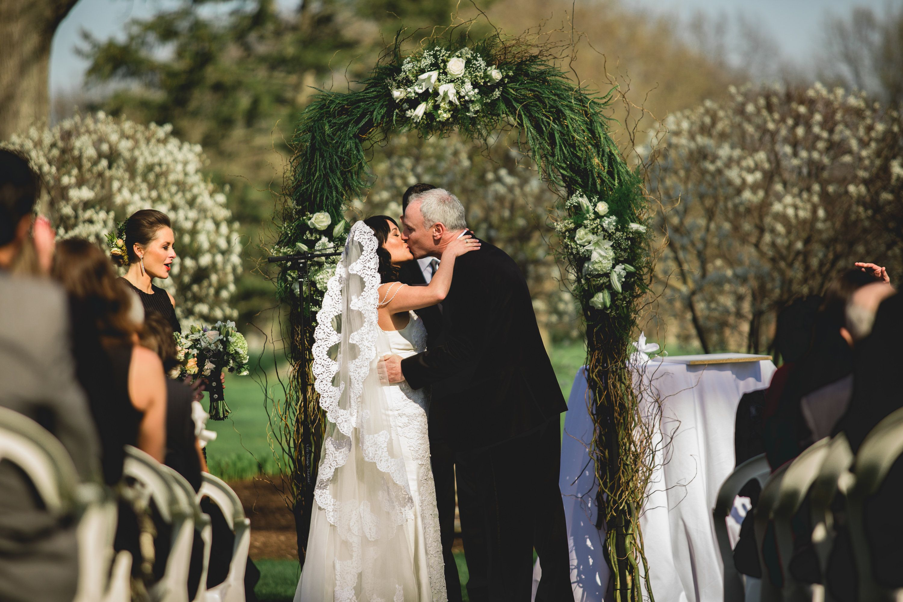 First Kiss / Country Club Wedding / Stone Oak CC Holland OH / Spring Wedding / Black Tie