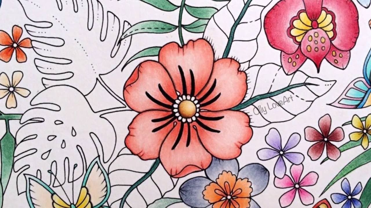 Youtube coloring book - How I Color Flowers In The Magical Jungle Coloring Book Selva Magica Youtube Olly