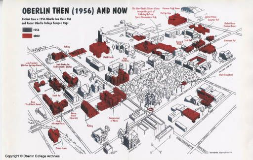 Oberlin Campus Map Oberlin College campus map comparing 2002 and 1956 :: Archives