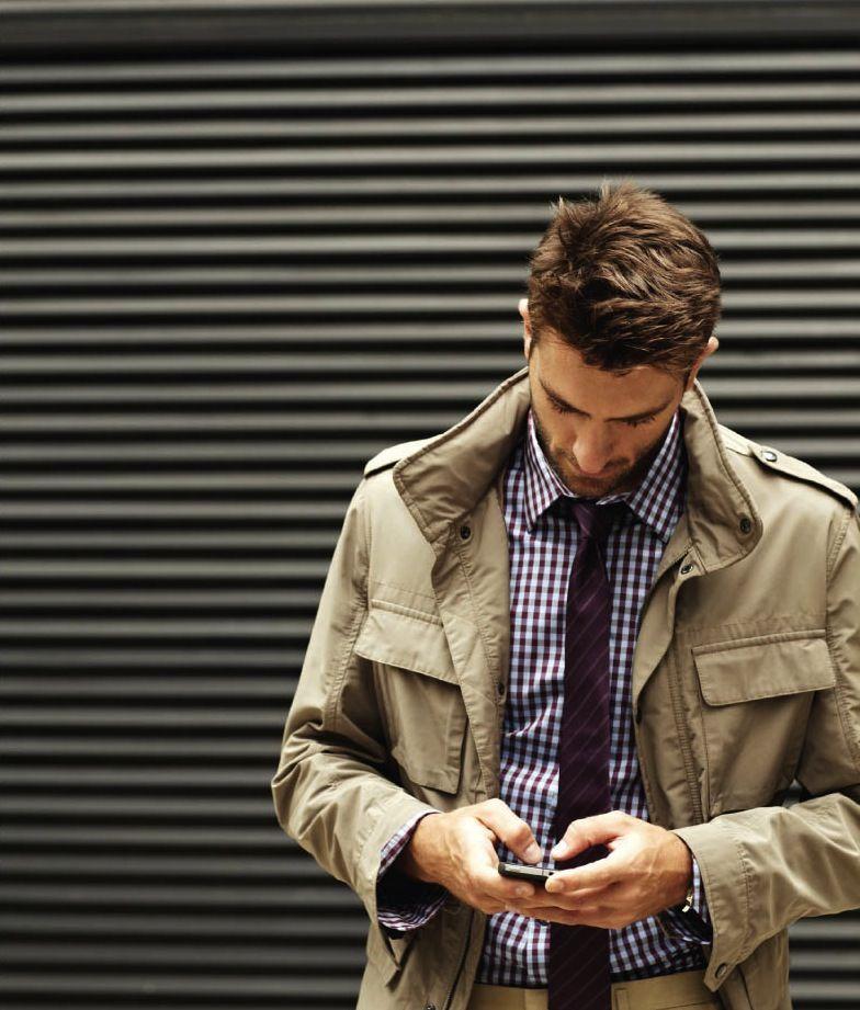Jacket, tie, shirt combo.
