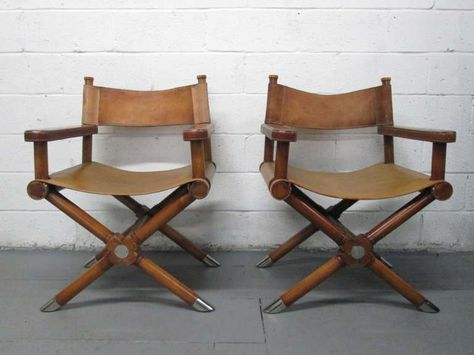 Leather Directors Chair Eames Plywood Lounge Replace Shock Mounts Pair Of Ralph Lauren Director S Chairs Image 2