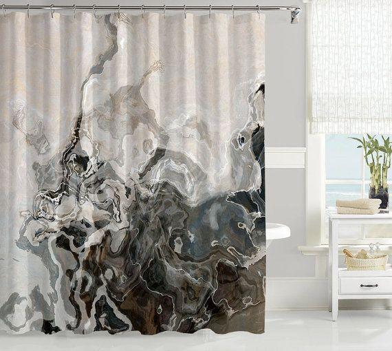 Abstract Art Shower Curtain Contemporary Bathroom Decor Brown