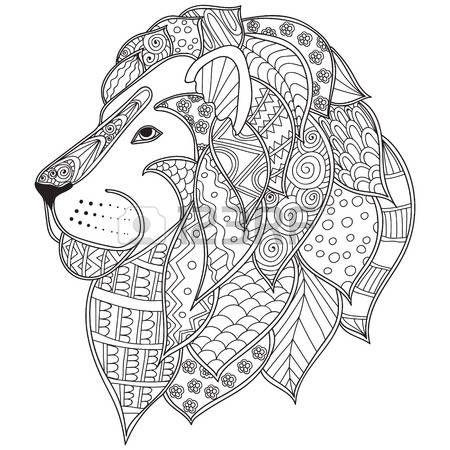 african cats: dibujado a mano ilustración cabeza de león ornamental ...