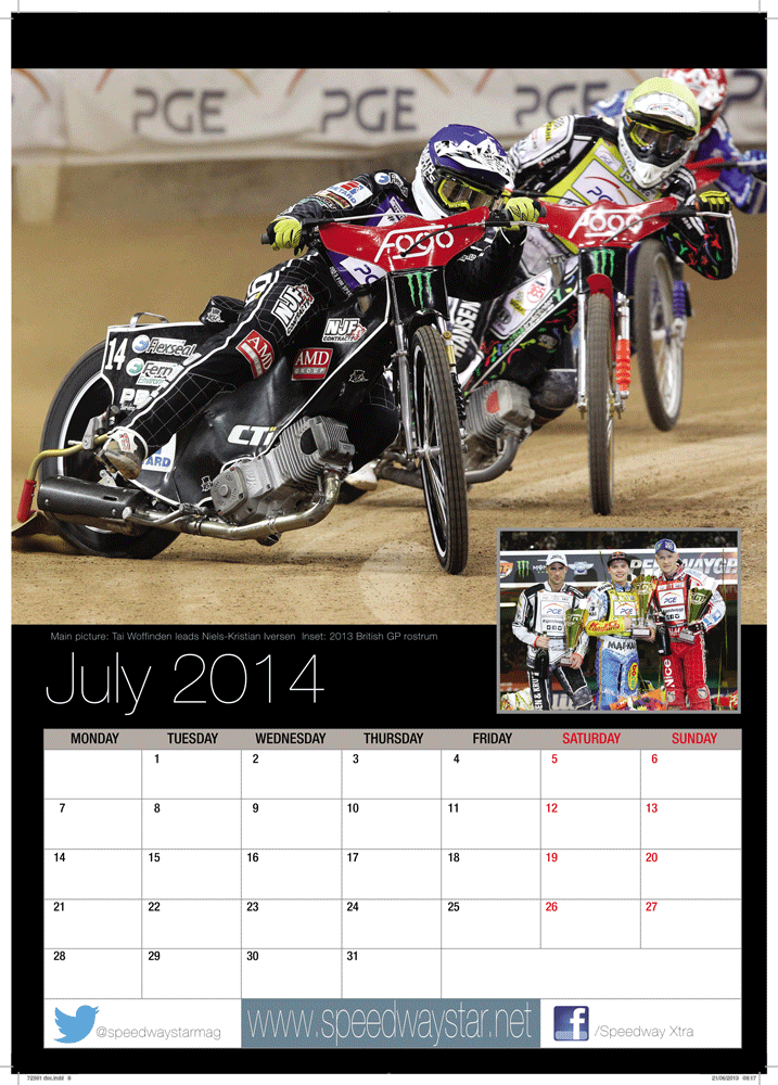 Main picture: Tai Woffinden leads Niels-Kristian Iversen  Inset: 2013 British GP rostrum http://www.azimuthprint.co.uk/printing/wall-calendars/