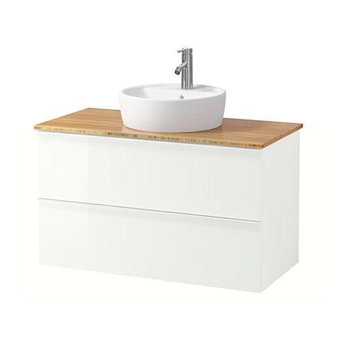 godmorgon aldern t rnviken waschbschr aufsatzwaschb 45 bambus hochglanz wei ikea bad. Black Bedroom Furniture Sets. Home Design Ideas