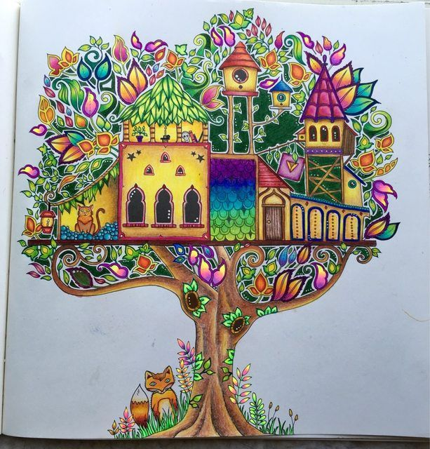 Treehouse From Enchanted Forest I Used Mostly Prismacolor Pencils And Some Gel Pens