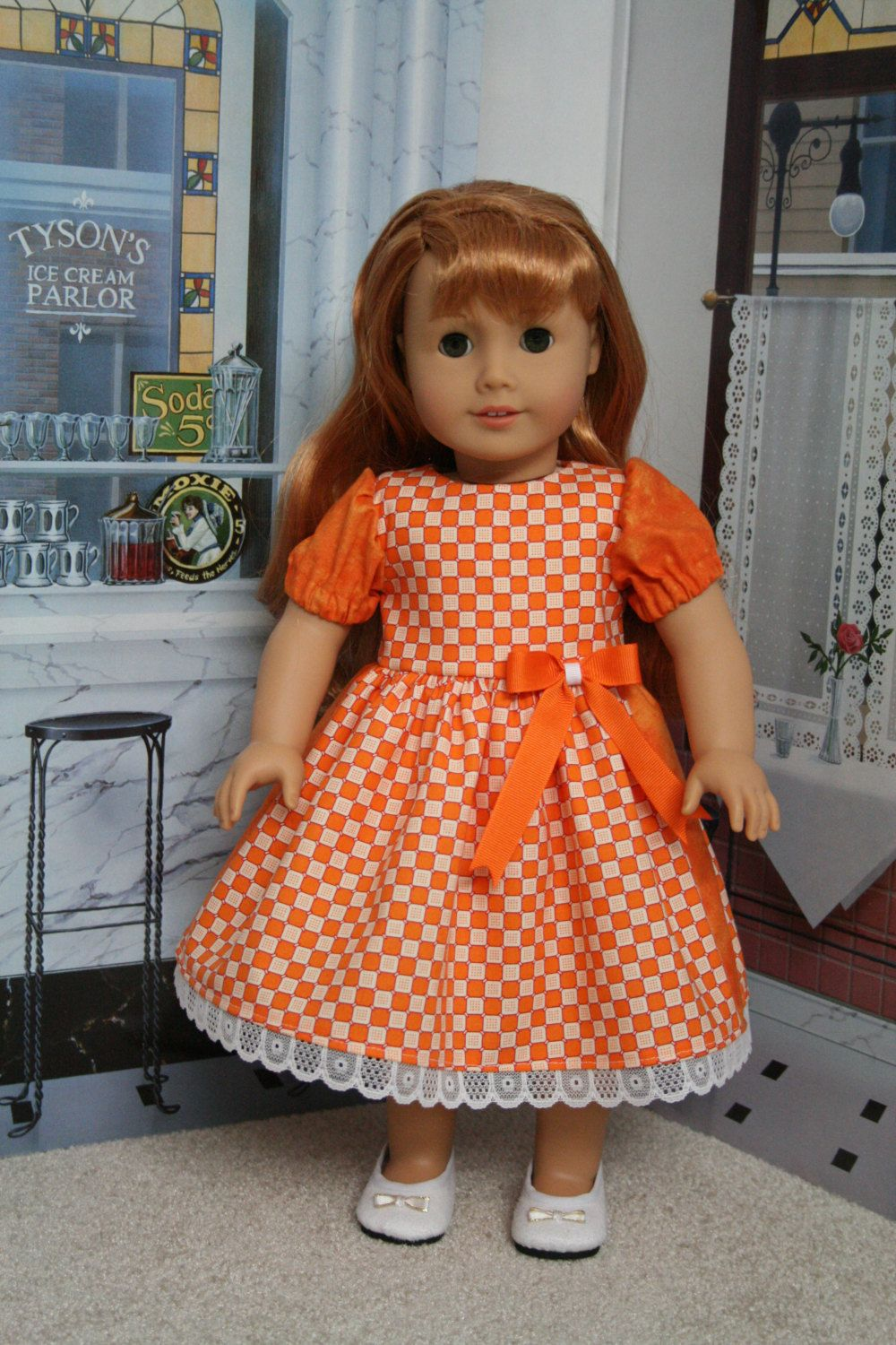 18 inch American Girl Orange Plaid Checkered Doll Dress by CrazyLadyDollClothes on Etsy