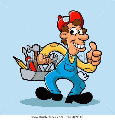 Handyman Holding Tool Box Tool Box Cartoon Design Cartoons Vector