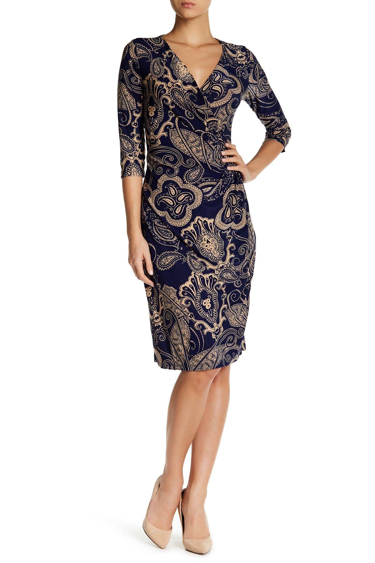 Printed Surplice Dress (Plus Size Available)