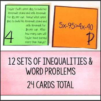 Inequalities With Variables On Both Sides Word Problem Matching Cards Word Problems Matching Cards Words