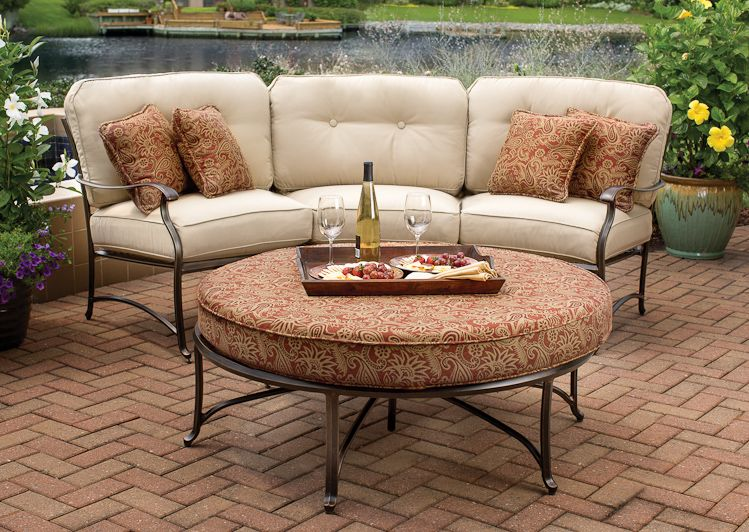 Agio International Outdoor Patio Heritage Round Ottoman Woodstock Furniture Acworth And Hiram Georgia