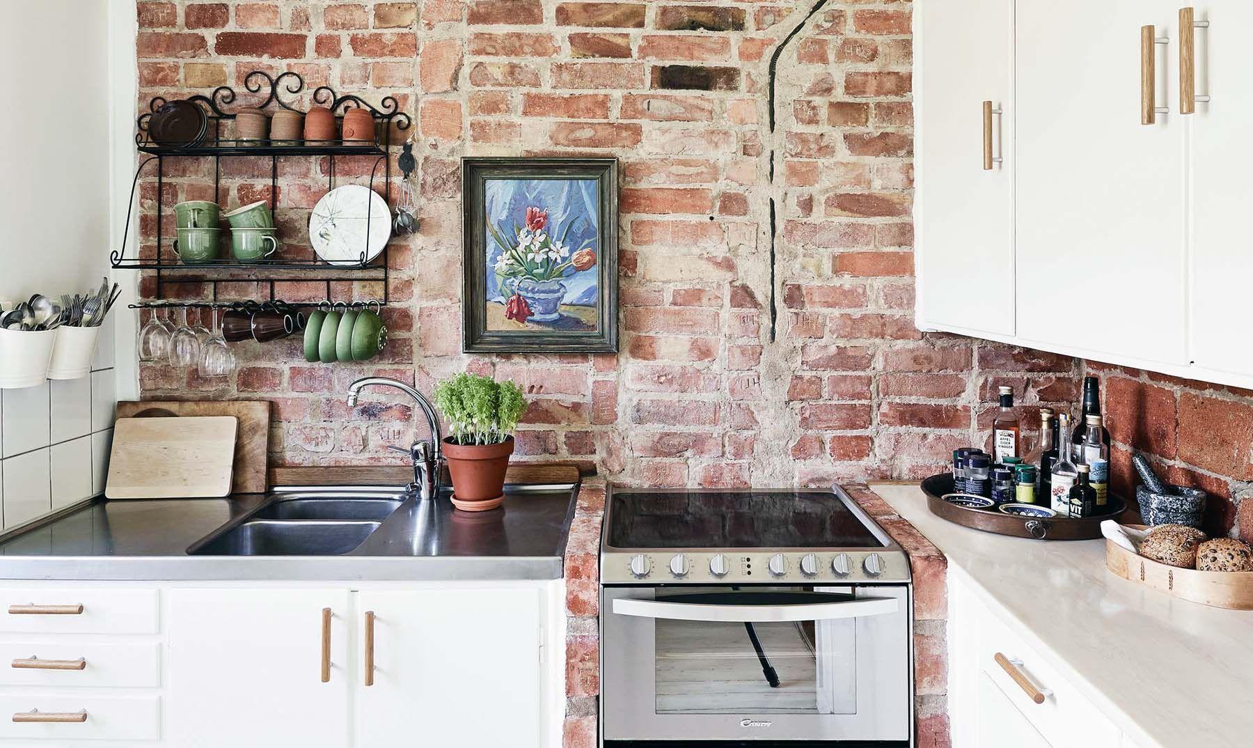 - Red Brick In The Kitchen In 2020 Brick Wallpaper Kitchen