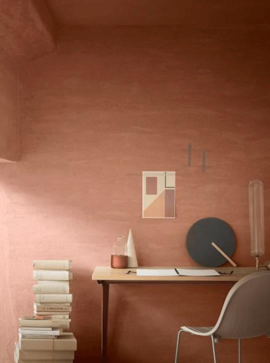 terracotta wall paint graduated paint soft tones
