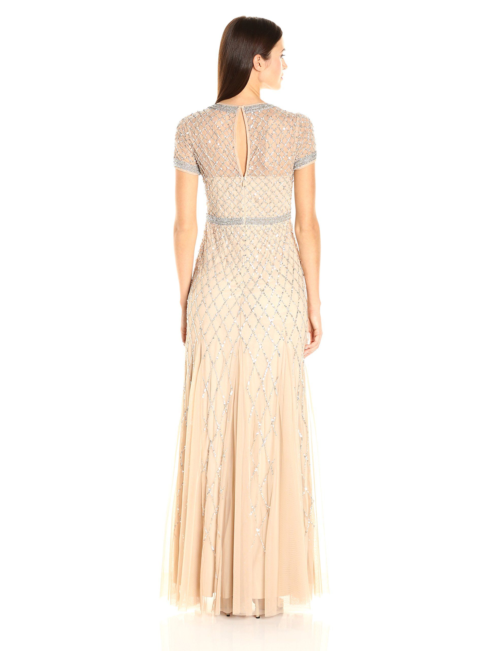 Adrianna Papell Womens Long Sleeve Rouched Jersey Gown