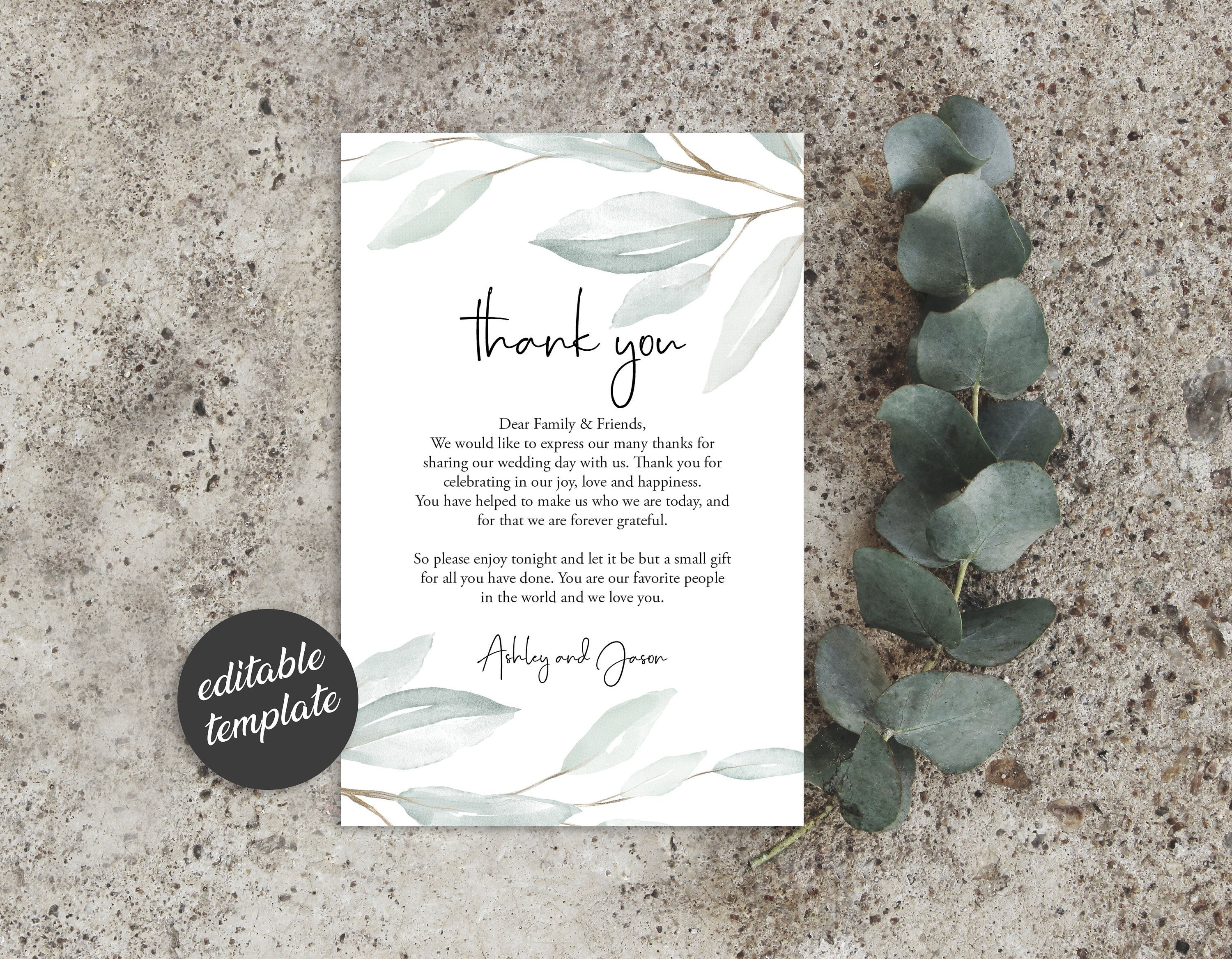 Thank You Letter Template, Greenery Wedding In Lieu of