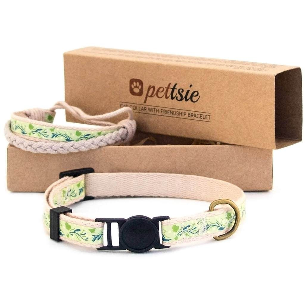 Green Kitten Collar With Safety Breakaway Buckle And Friendship Bracelet For You Kitten Accessories Kitten Collars Cat Collars
