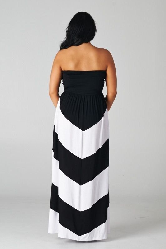 Women Strapless Plus Size Chevron Maxi Dress Striped Black White