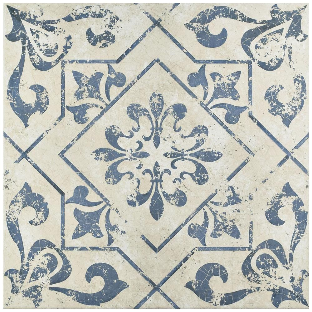 Merola tile lotto cobalto 17 34 in x 17 34 in ceramic floor and ceramic floor and wall tile sq case the merola tile lotto cobalto in ceramic floor and wall tile features a rustic blue and white pattern on its dailygadgetfo Gallery