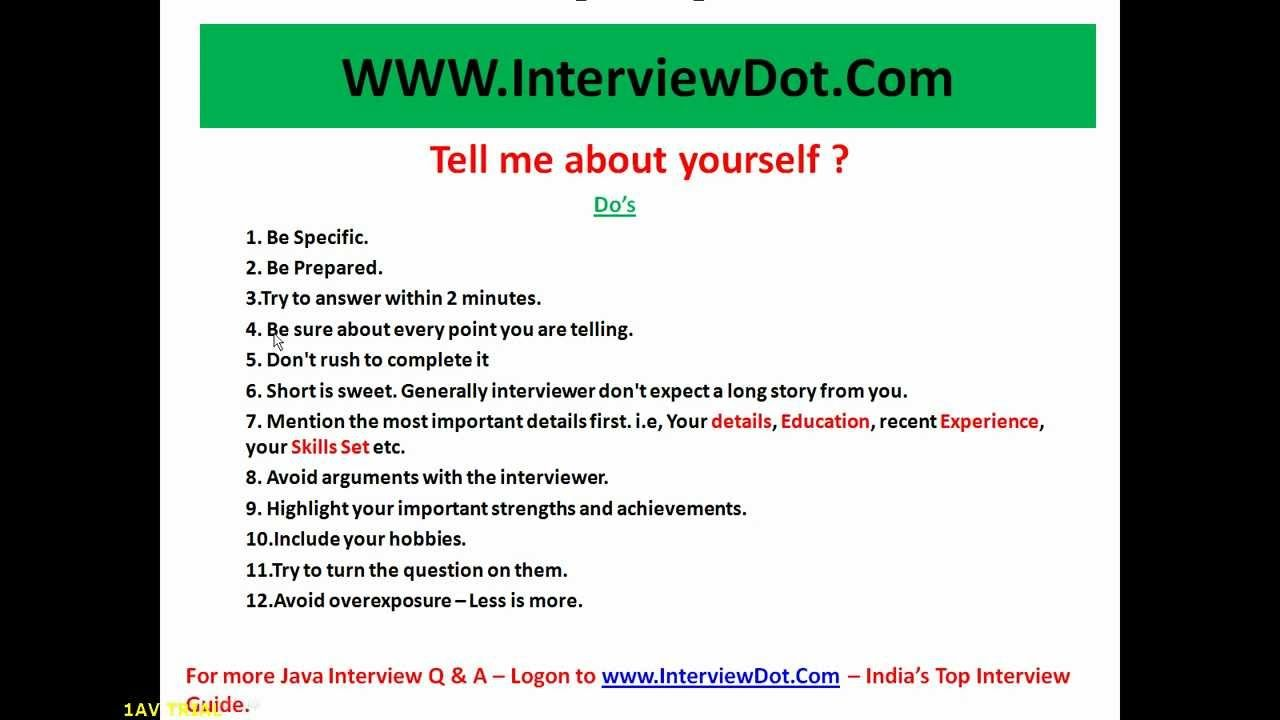 job interview tell me about yourself sample answer google search