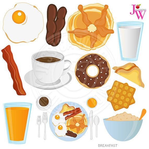 breakfast food digital clipart breakfast clip art donut coffee rh pinterest com breakfast food clipart black and white breakfast food clipart