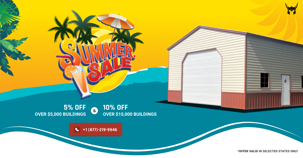 #Summer Never Looked So Good  Order from our widest catalog of metal buildings and Get FLAT 5% OFF Over $5000 & 10% Over $10,000 building price. With our sensational #SummerSale, get *Lowest Price Guaranteed* and treat yourself with a sturdy Metal Structure. To order, call 877-219-9946 or visit www.vikingsteelstructures.com/offer.  - Easy RTO & Financing Available - Free Delivery & Installation - 20 Year Warranty  Check out your wishlist before it's too late!