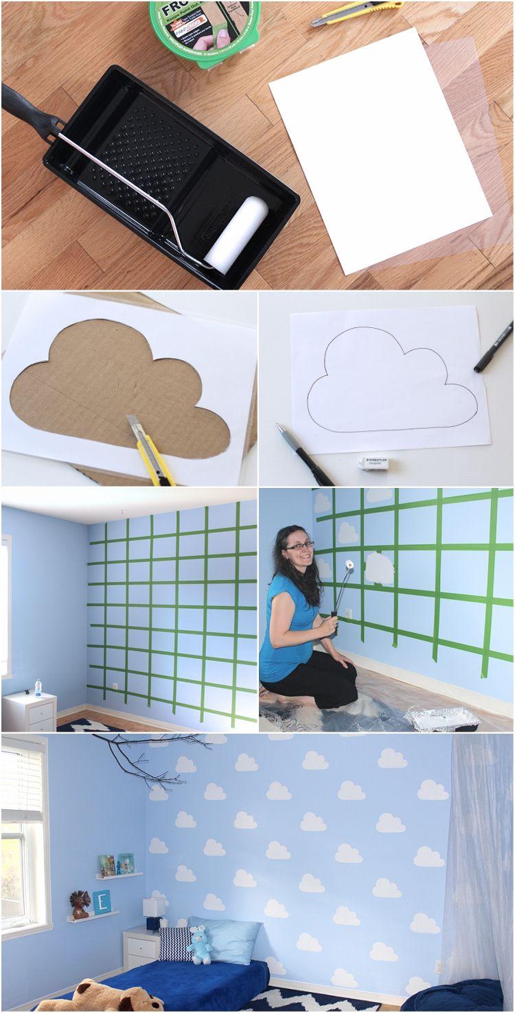 Beeindruckend Muster Wand Das Beste Von Wolken Kinderzimmer Babyzimmer Farbe Selbe Rmachen Anleitung
