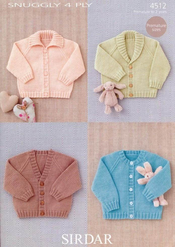 Sirdar Baby Raglan Cardigans 4 Ply Knitting Pattern 4512 Knits