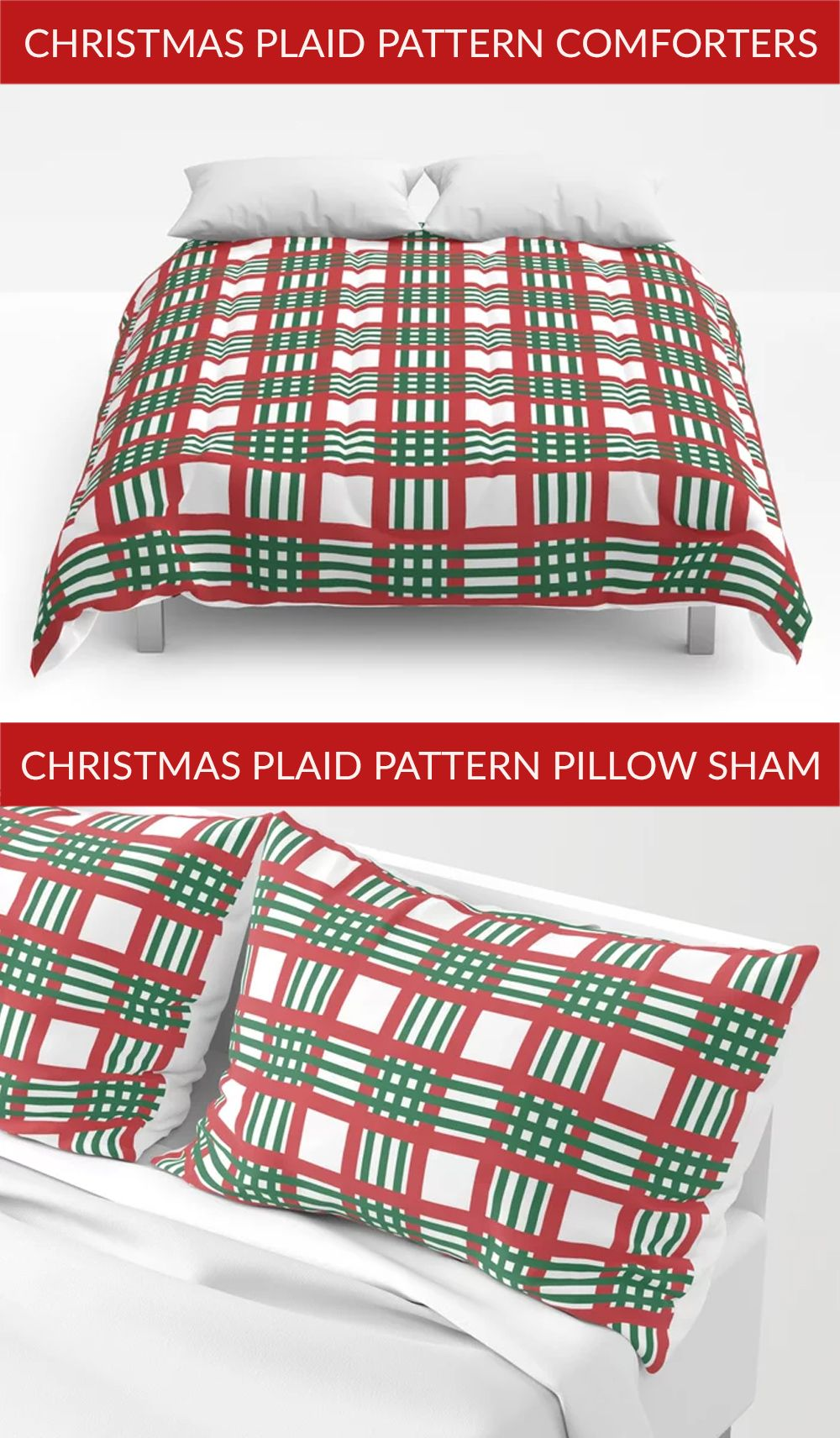 Want a cheerful home decor? then get these Christmas plaid pattern Comforters that will not only prodide you the warmth but also make your home decor cheerful. Get this matching Christmas plaid pattern Pillow Sham to complete the overall room decor. Get yours now. Click the link to buy now. #comforters #homedecor #bedding #decor #society6 #comforter #pillows #bed #Christmas #ChristmasShopping #Christmasdecor #Christmas2020 #Christmasplaid #Christmasplaidpattern #red #green #Christmastime #Xmas