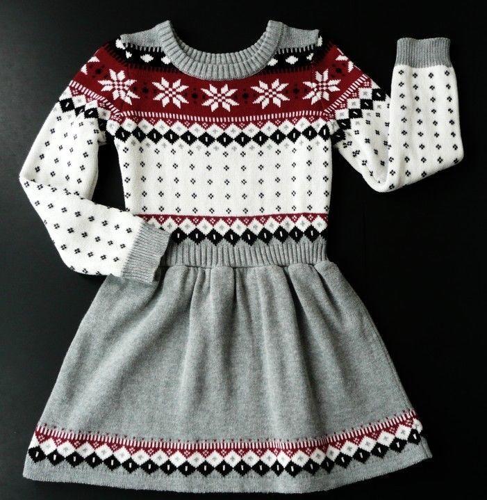 3681f219f14 Gymboree 5 Girls Fair Isle Snowflake Sweater Dress L S Christmas Gray Red  Black  Gymboree  Christmas
