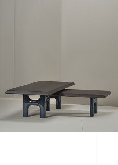 Forsa   By Bruno Moinard Editions (set of two tables) Base, high gloss lacquer Top in walnut or oak