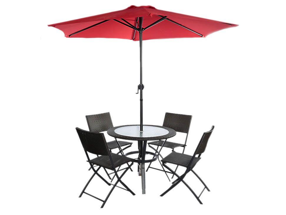 Antecomedor con set de sillas y sombrilla contempor neo for Sillas para antecomedor
