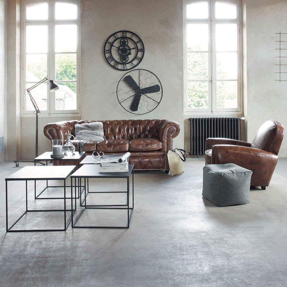 industriele woonkamer stoer bruin leer grijs wit | Interieur ideas ...