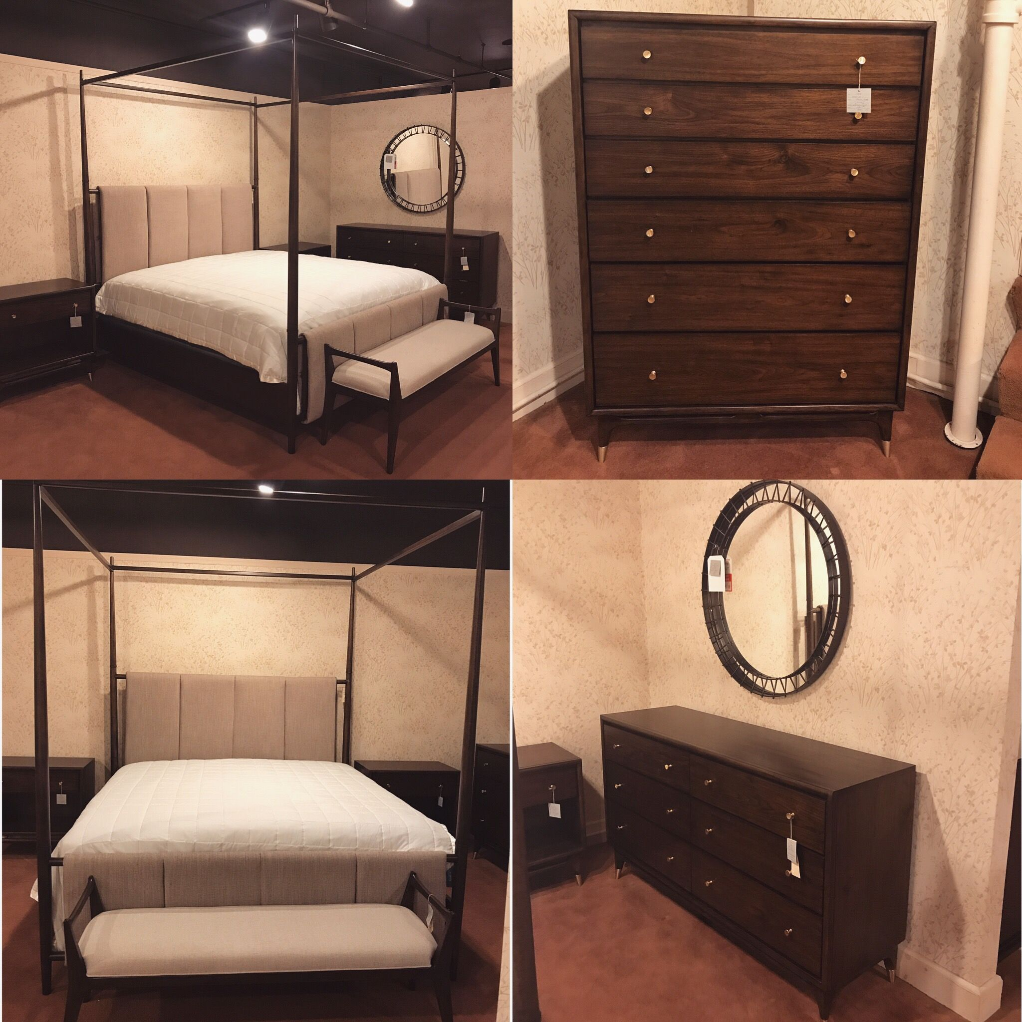 Check out this new and beautiful canopy bedroom set. We're