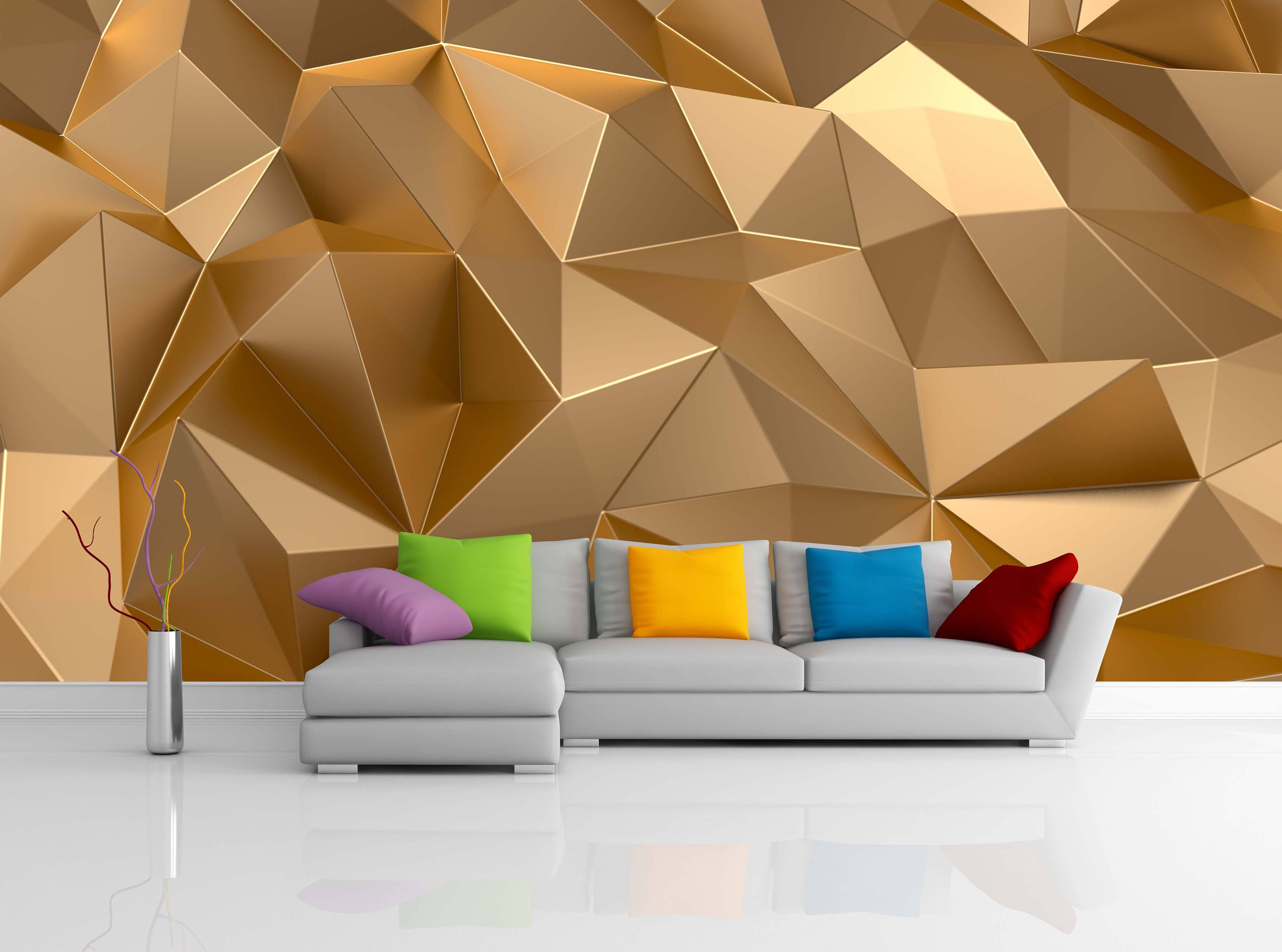 Removable Wallpaper Mural Peel Stick 3D Gold Background Luxury