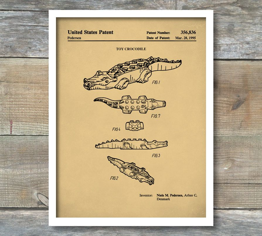 Patent Poster, Lego Crocodile Patent, Lego Crocodile Poster, Lego ...