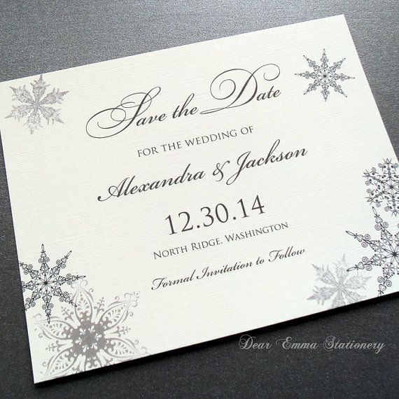 Lacy Snowflake Save The Date Cards Winter Wonderland Wedding – Winter Wedding Save the Date