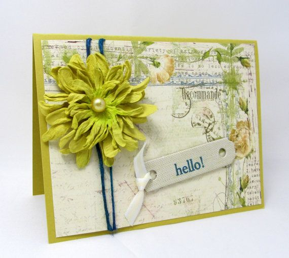 Hello  Any Occasion Card  Vintage Style  door PrettyByrdDesigns